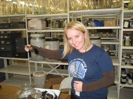 SUST major Amanda Zeigler working in the Mammals Department at the Field Museum, spring 2011