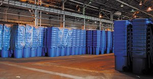 From the start of the Blue Bin recycling program in Chicago, thousands of Blue Carts sat in a Chicago warehouse for two years, unused, because of lack of funding to distribute them. Many have since have been distributed throughout the city.