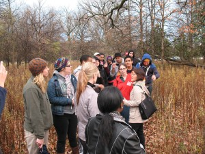 Susan Kuse leads our hike through the North Park Village Nature Center (photo: M. Bryson)