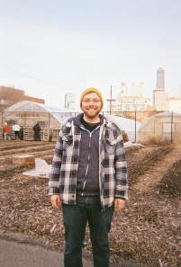 RU senior Mike Miller at the Chicago Lights Urban Farm, Feb. 2013