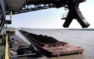 A coal barge at the loading facility at Cora, Illinois, is ready for Mississippi River transport to waiting markets (source: IL State Geological Survey)