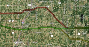 Proposed routes of Illiana Expressway