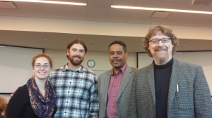 Allison Breeding, Kyle Huff, Ron Taylor, and Prof. Mike Bryson (L to R) at the first SUST Student Symposium, Oct. 2013
