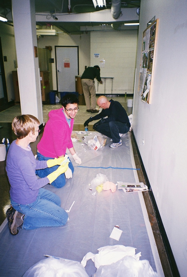 Students in SUST 240 Waste this Fall 2013 semester perform the first-ever waste audit of the Schaumburg Campus on Oct. 23rd.