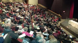 Packed house at the IDNR public hearing on fracking in Decatur, IL (photo: IL People's Action)
