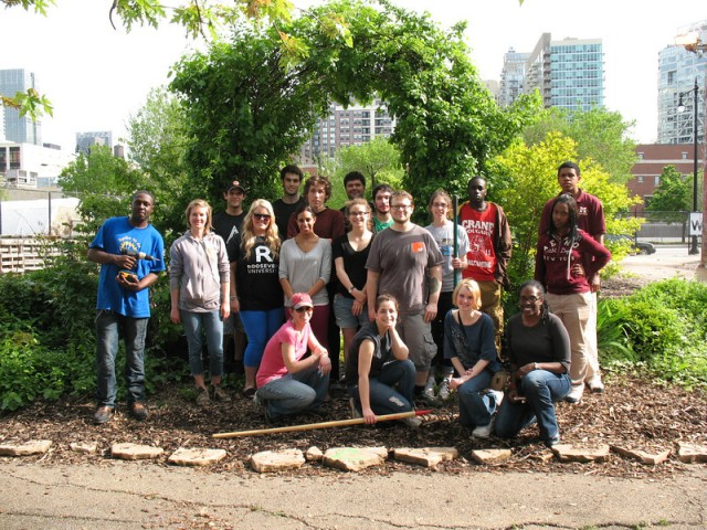 SUST 350 Service and Sustainability students worked at the Chicago Lights Urban Farm during the spring of 2012. Recent grads pictured here include (M. Bryson)
