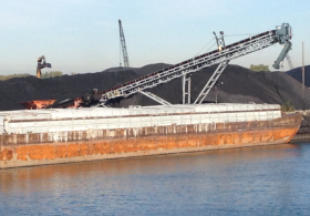 Petcoke ash along the Calumet River in Chicago