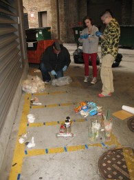 RU students and staff sort the trash from the AUD Theatre on the RU loading dock, Oct. 2014 (M. Bryson)