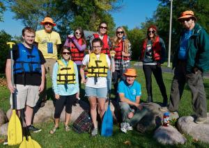 SUST majors in Michele Hoffman's 220 Water class, pictured here with volunteer guides from Friends of the Chicago River, paddled the North Branch of the Chicago River this fall (M. Hoffman)