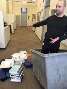 Eric Hahn in Prof. Cyboran's dumpster