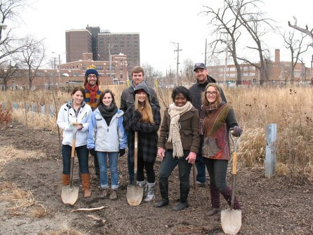 The last workday for SUST 350 at Eden Place Nature Center, near 15 trees we planted that fall (photo: M. Bryson)