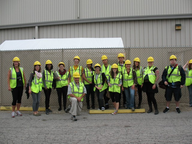 SUST 240 Waste students visit the Waste Mgmt South Chicago Municipal Recycling Facility with Tom Shepherd of the Southeast Environmental Task Force, Oct. 2014 (M. Bryson)