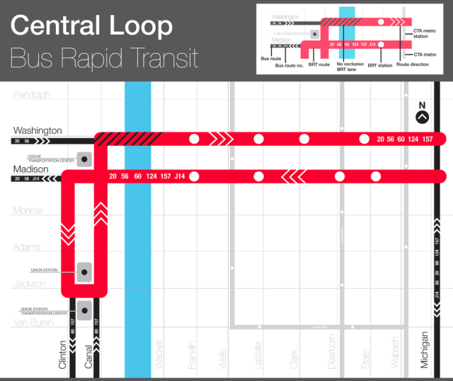 Central Loop BRT route plan (source: Mark Byrnes / CityLab)