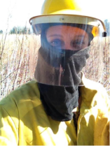 RU's Melanie Blume with her protective gear on at Spring Valley Nature Center, Apr 2015