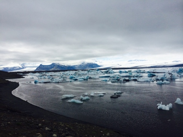 Glacier Lagoon being fed by sublet-glaciers from the Vatnajökull Glacier. This lagoon was formed only 80 years ago. It is astonishing what climate change and rising temperatures can do.