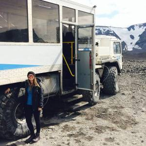 My class took these super-sized trucks up the Langjökull glacier. The driver would let almost all the air out of the tires in order to disperse weight evenly up the mountain. If they did not do that, the truck would get stuck in the ice.