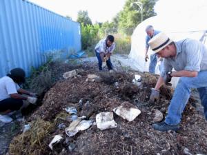 Volunteers sorting through the BiobiN output (photo: E. Rhea)
