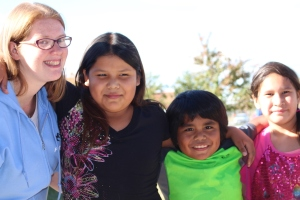 Bridget Powers (BA '14) and kids from the Boys and Girls Club, Northern Cheyenne Reservation (2015)