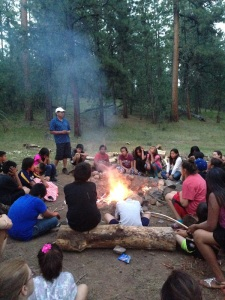 Listening to traditional stories around a campfire, Northern Cheyenne Reservation (B. Powers, 2015)