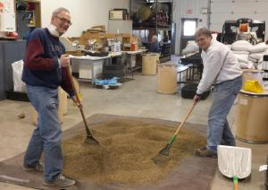 Volunteers mixing a seed recipe. (source: USFS-MNTP Facebook page)