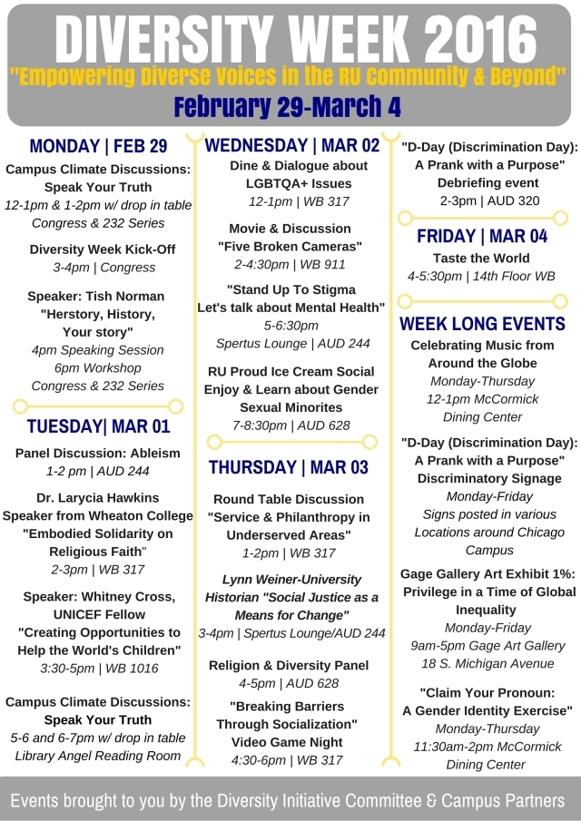 Diversity Week Calendar at a Glance - Spr 16