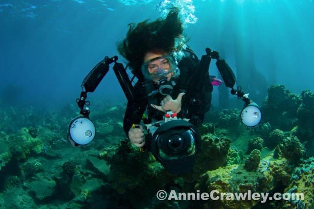 Michele H-F filming underwater