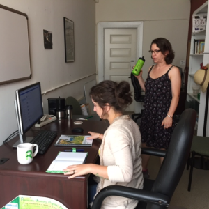 Rebecca Quesnell (BA '15) and Maria Cancilla (SUST major) work on the STARS assessment project in the Roosevelt Urban Sustainability Lab, est. 2015