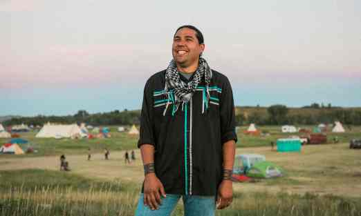 Dallas Goldtooth, currently from Chicago but originally from MN and SD, is with the Indigenous Environmental Network and is a #ClimateJustice activist. (photo: Josué Rivas, The Guardian)