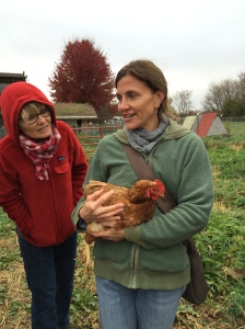 SUST prof Vicki Gerberich and SUST major Laura Miller Hill at the Angelic Organics Farm, Oct 2015
