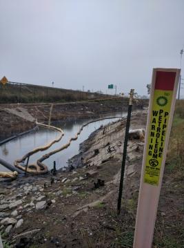 Broken Oil Pipeline near Gary, IN